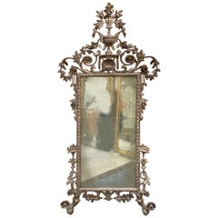 Antique Italian Carved Wood Silver Leaf Mirror