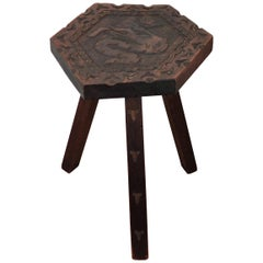 Antique Italian Carved Wood Tripod Chair Stool