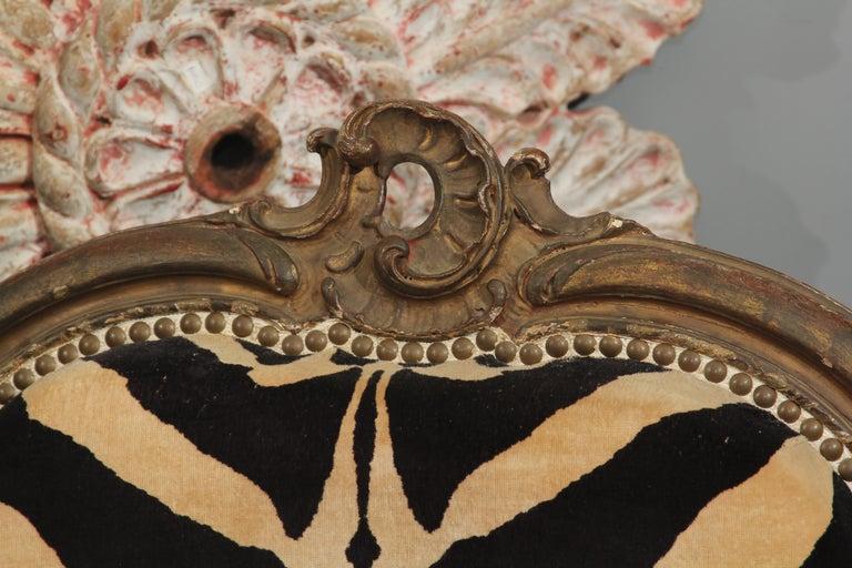 Antique Italian Chair in Zebra Cotton Velvet For Sale 2