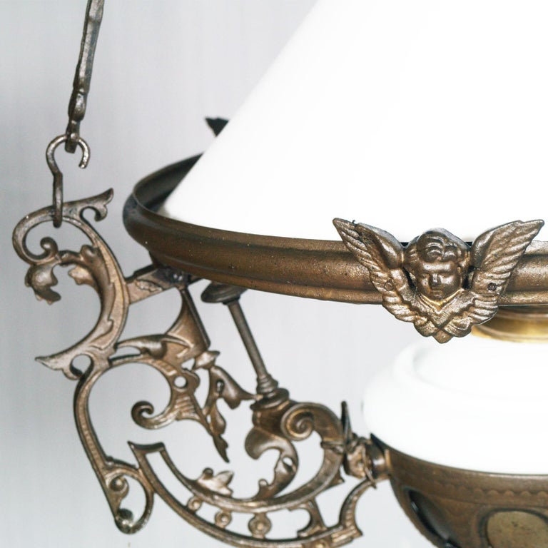 Burnished Antique Italian Chandelier, Electrified Old Oil Lamp, Murano Glass & Bronze For Sale