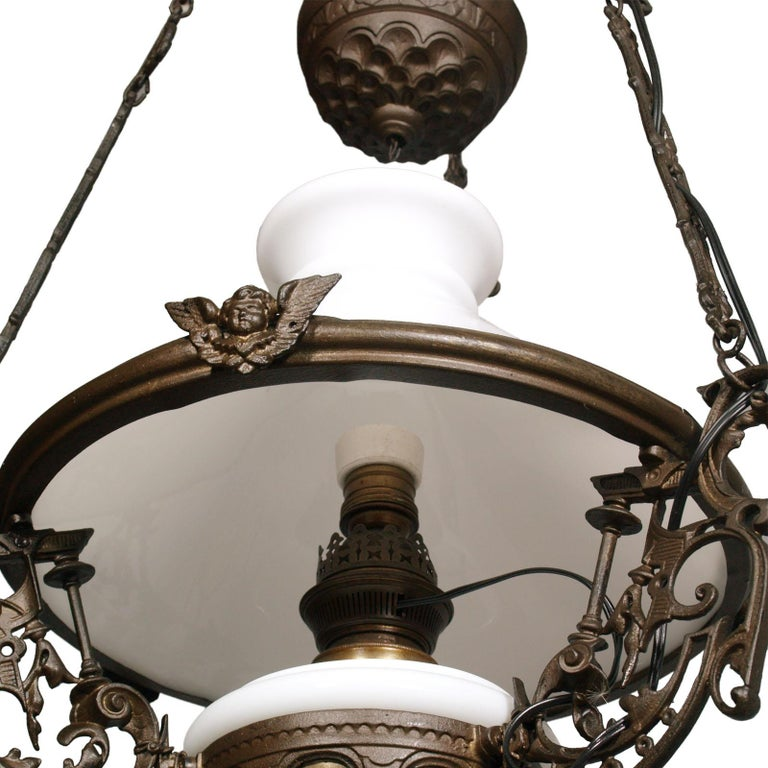 Antique Italian Chandelier, Electrified Old Oil Lamp, Murano Glass & Bronze In Good Condition For Sale In Vigonza, Padua