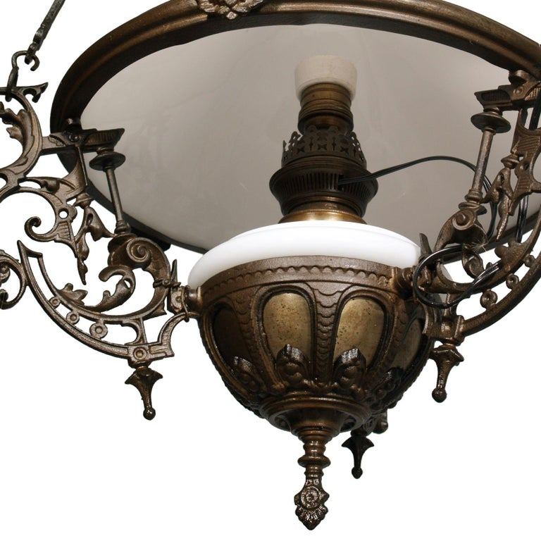 20th Century Antique Italian Chandelier, Electrified Old Oil Lamp, Murano Glass & Bronze For Sale