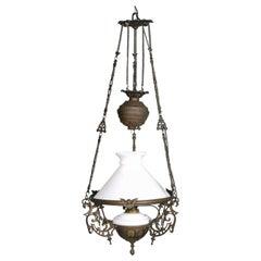 Antique Italian Chandelier, Electrified Old Oil Lamp, Murano Glass & Bronze