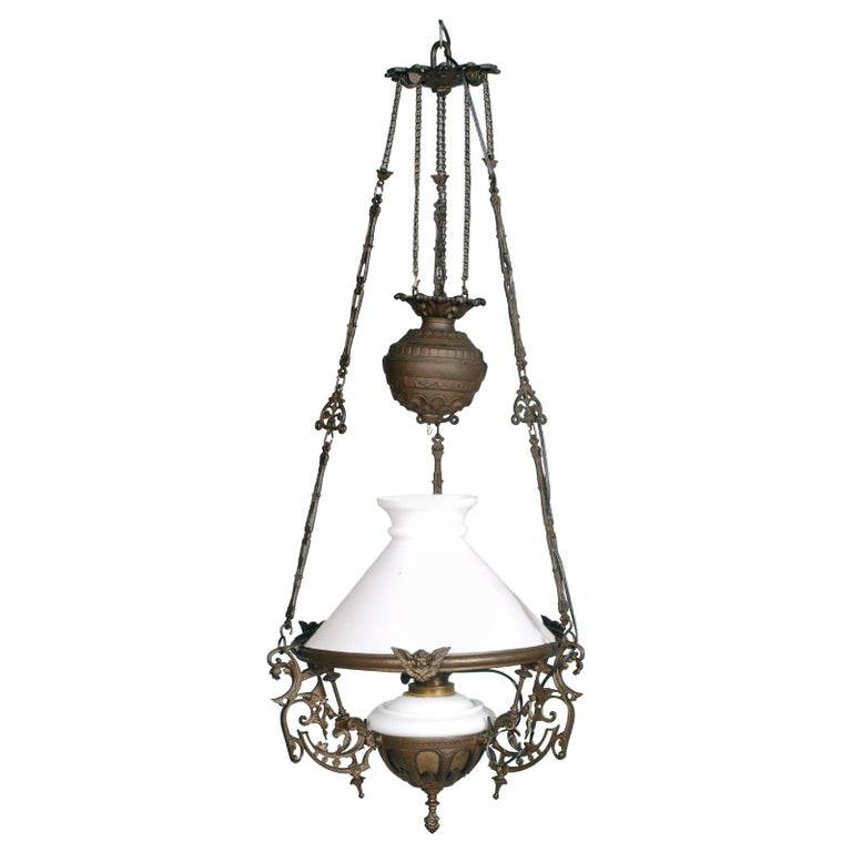 Antique Italian Chandelier, Electrified Old Oil Lamp, Murano Glass & Bronze For Sale