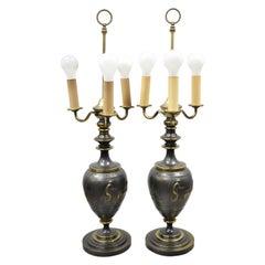 Antique Italian Classical Bronze Finish Metal Bulbous Figural Table Lamps, Pair