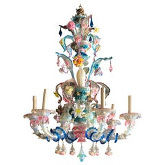 Antique Italian Colorful Ca' Rezzonico Murano Glass Chandelier, 1890s