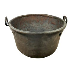 Antique Italian Copper Pot With Handles  Hand Forged With Beautiful Patina