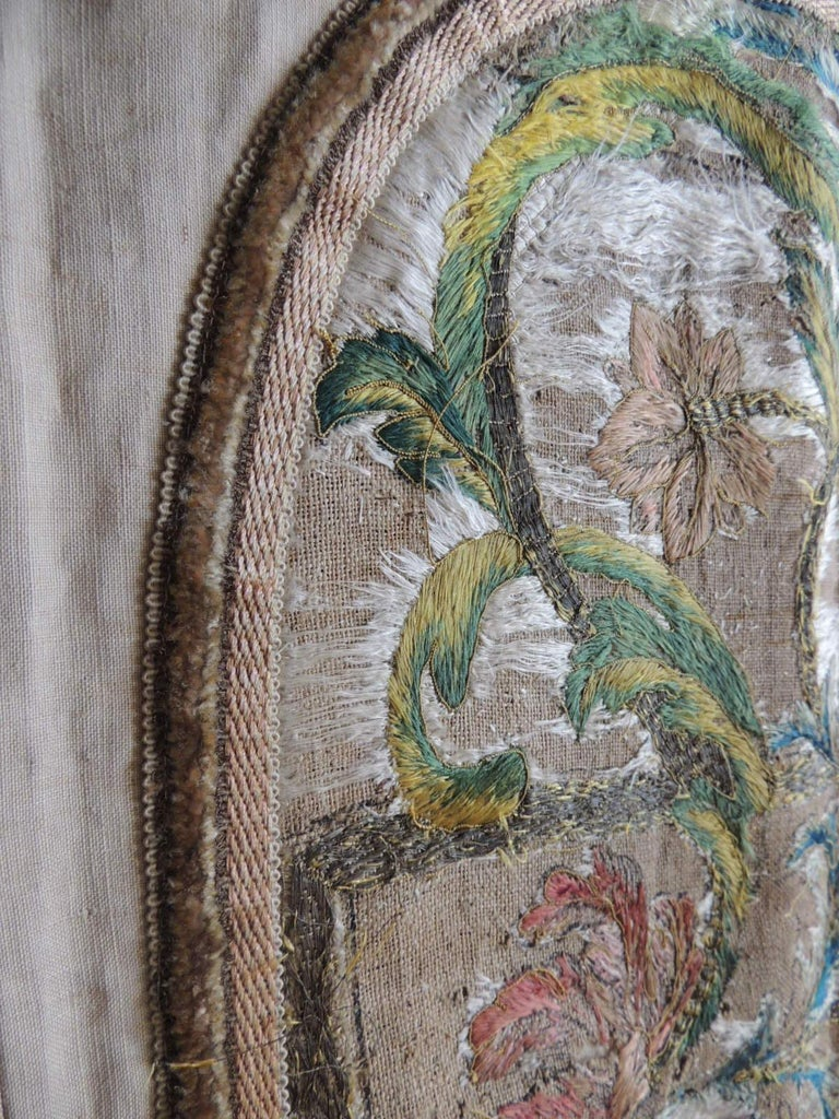 Trimming Antique Italian Embroidered Silk Floss Threads Chasuble Textile For Sale