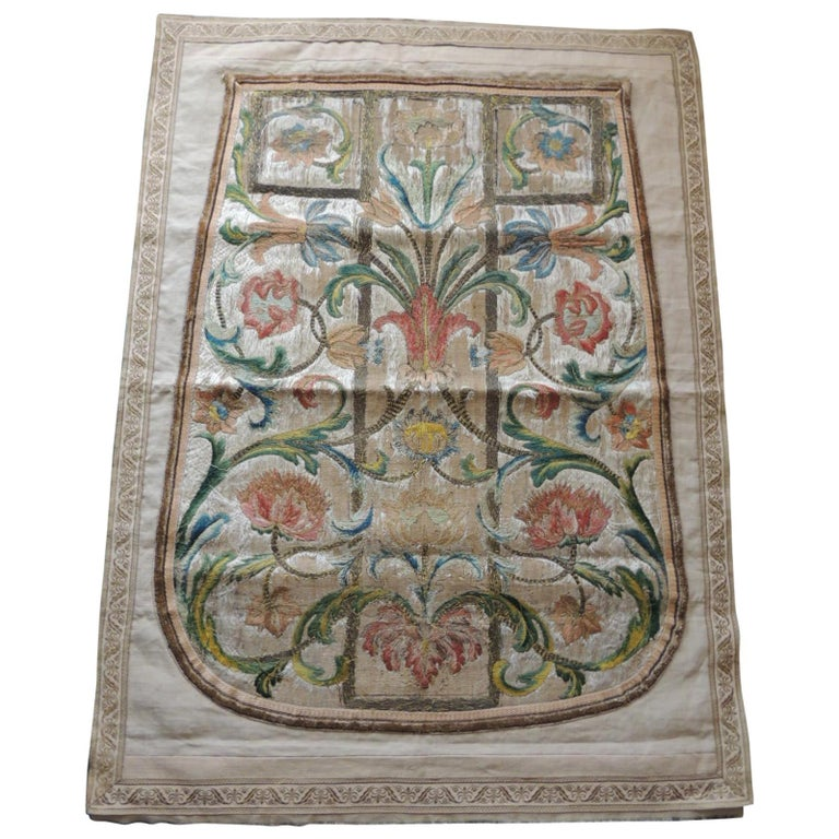 Antique Italian Embroidered Silk Floss Threads Chasuble Textile For Sale
