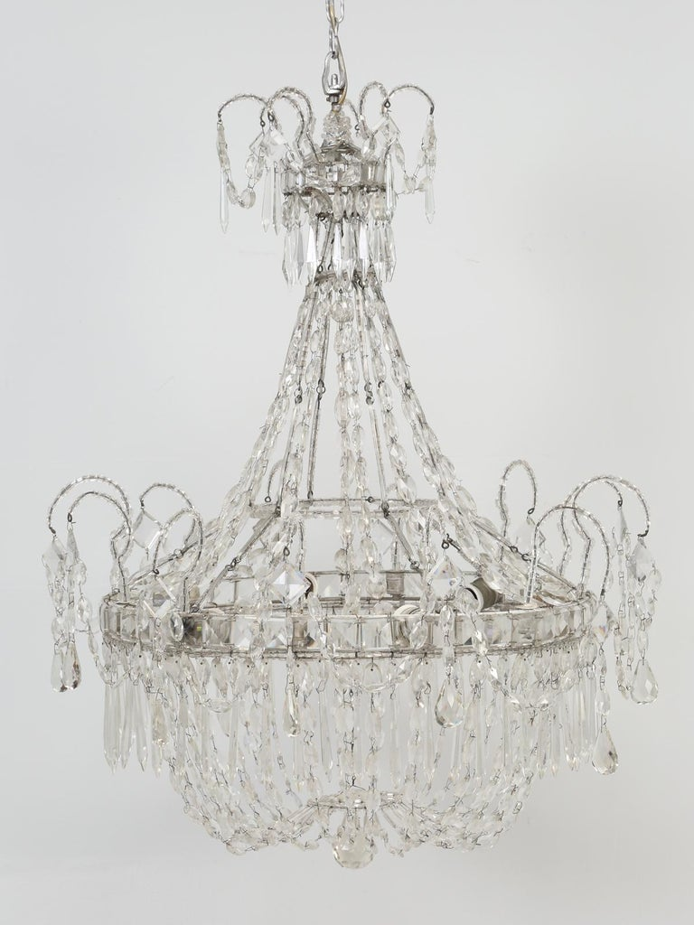 Antique Empire Italian chandelier. This is one of the few times, that we have ever received an item, accompanied with a Letter of Authenticity. The letter states; Empire beaded crystal six-light chandelier, circa 1860. Goes on to mention the
