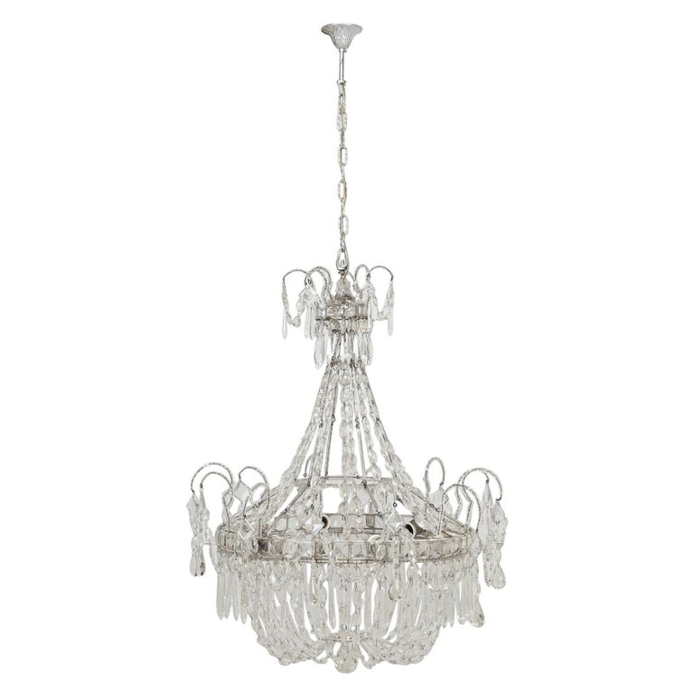 Antique Italian Empire Style Chandelier from Milan, with Letter of Authenticity  For Sale