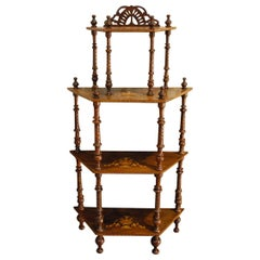 Antique Italian Etagere in Walnut with Rosewood Inlay