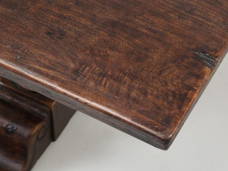 Country Antique Italian Farm Table or Italian Trestle Dining Table, circa 1800s