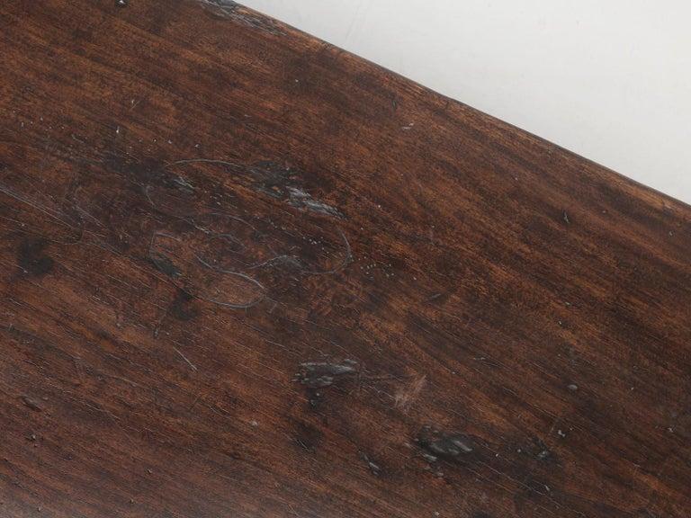 Walnut Antique Italian Farm Table or Italian Trestle Dining Table, circa 1800s