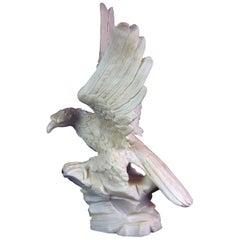 Antique Italian Figural Carved Alabaster Eagle Sculpture, 20th Century