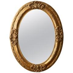 Antique Italian Florentine Oval Gilded Mirror