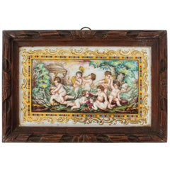 Antique Italian Framed Capodimonte Porcelain Plaque Early 19th Century