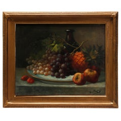 Antique Italian Fruit Still Life Oil on Canvas Painting, circa 1890