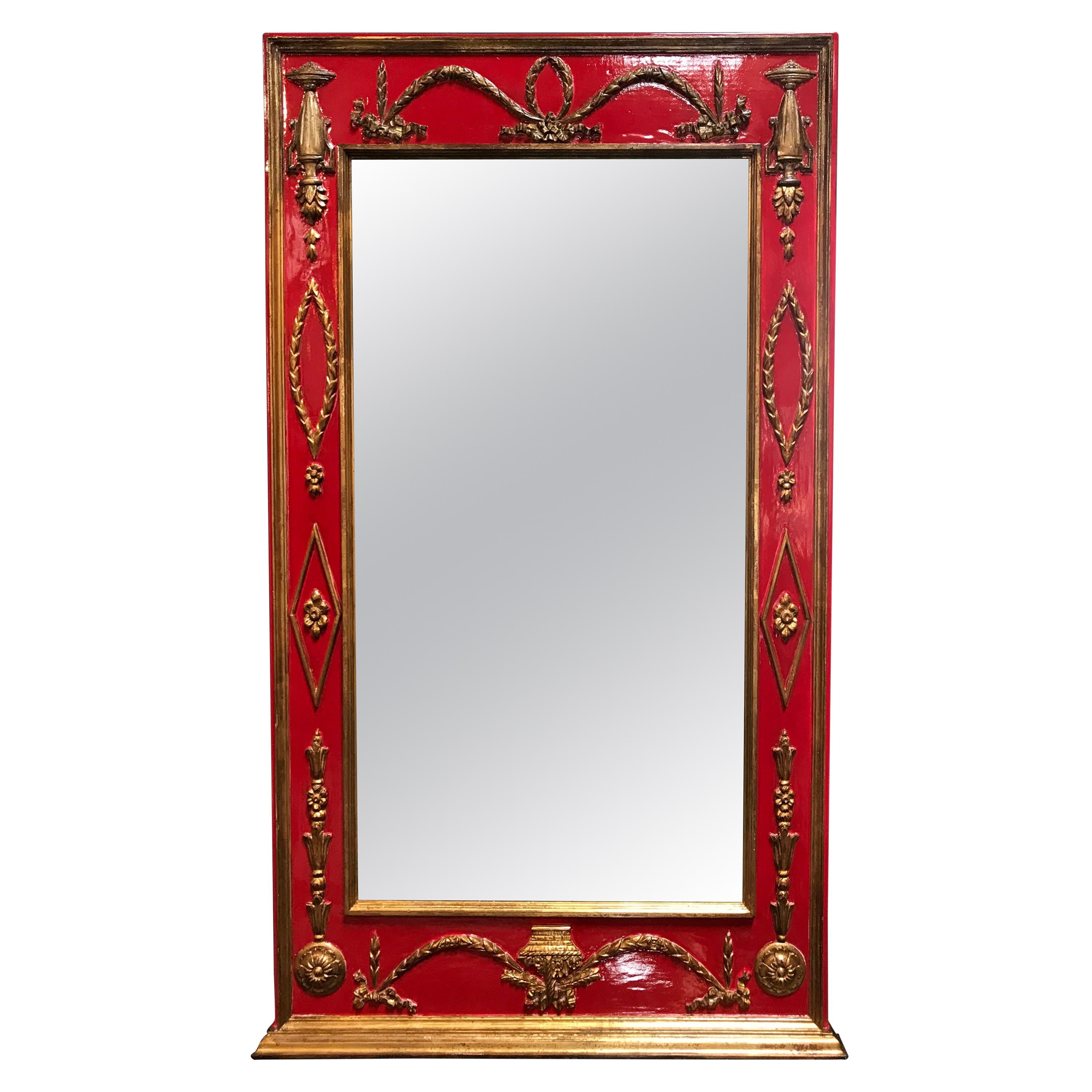 Antique Italian Fruitwood Neoclassical Style Wall Mirror, 1930s