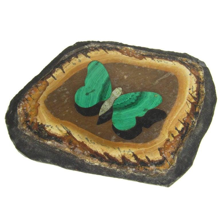 Antique Italian G. Uglioni Pietra Dura Malachite Butterfly Plaque