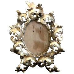 Antique Italian Gilt Cast Metal Foliate Form Easel Back Table Frame, circa 1890