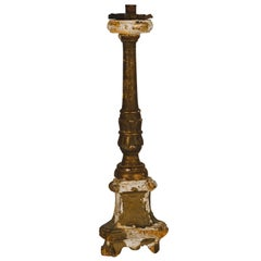Antique Italian Giltwood Alter Candlestick