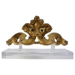 Antique Italian Giltwood Carving with Crown on Lucite Base