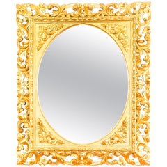 Antique Italian Giltwood Florentine Overmantle Mirror, 19th Century
