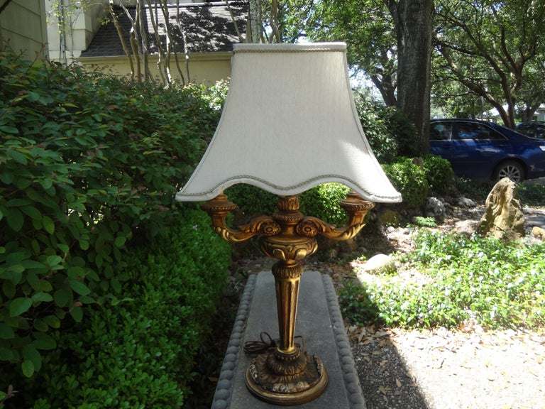 Antique Italian Giltwood Lamp For Sale 5