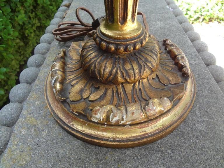 Neoclassical Antique Italian Giltwood Lamp For Sale