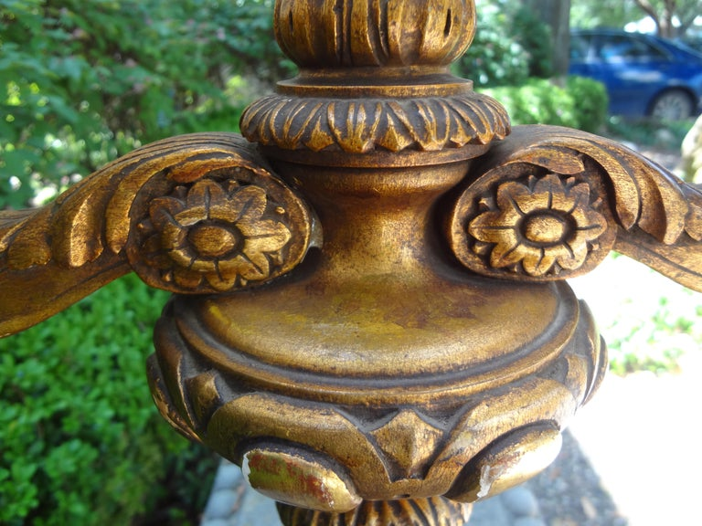 Antique Italian Giltwood Lamp In Good Condition For Sale In Houston, TX