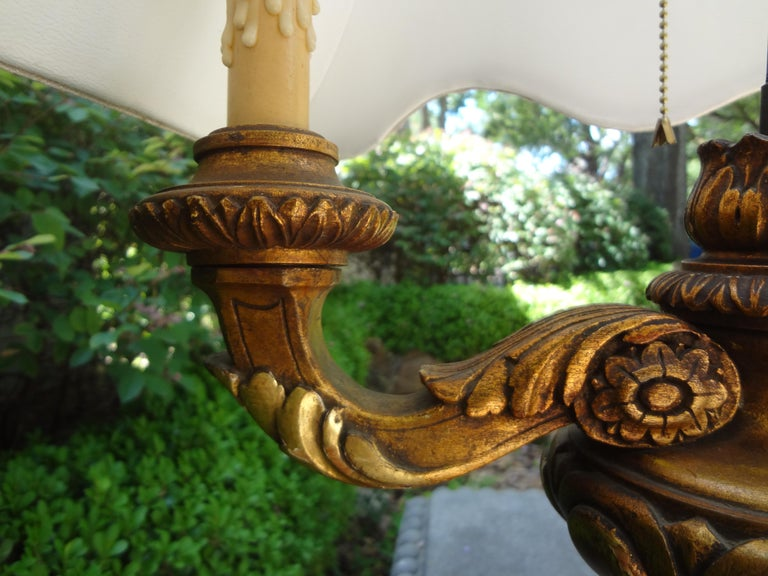 Early 20th Century Antique Italian Giltwood Lamp For Sale