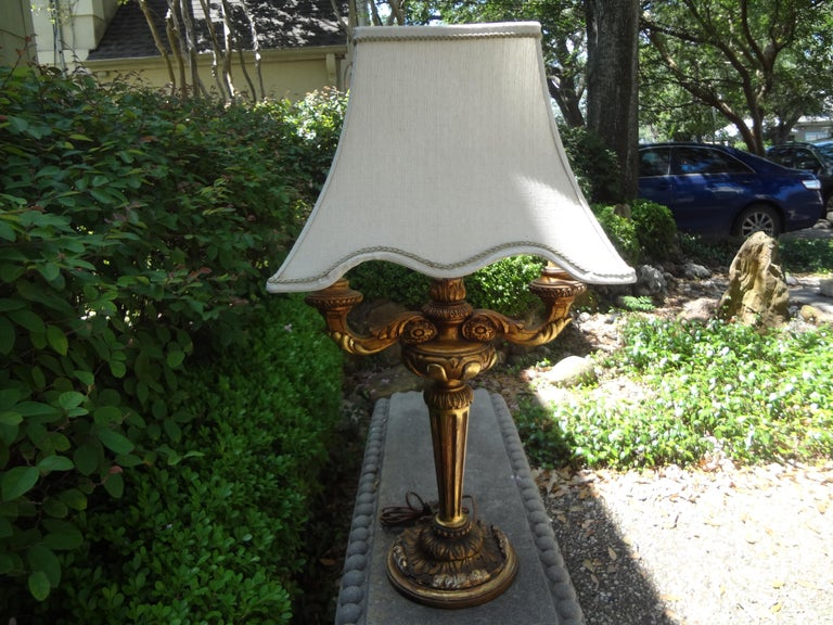 Antique Italian Giltwood Lamp For Sale 3