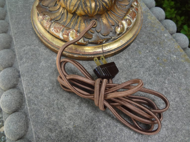 Antique Italian Giltwood Lamp For Sale 4