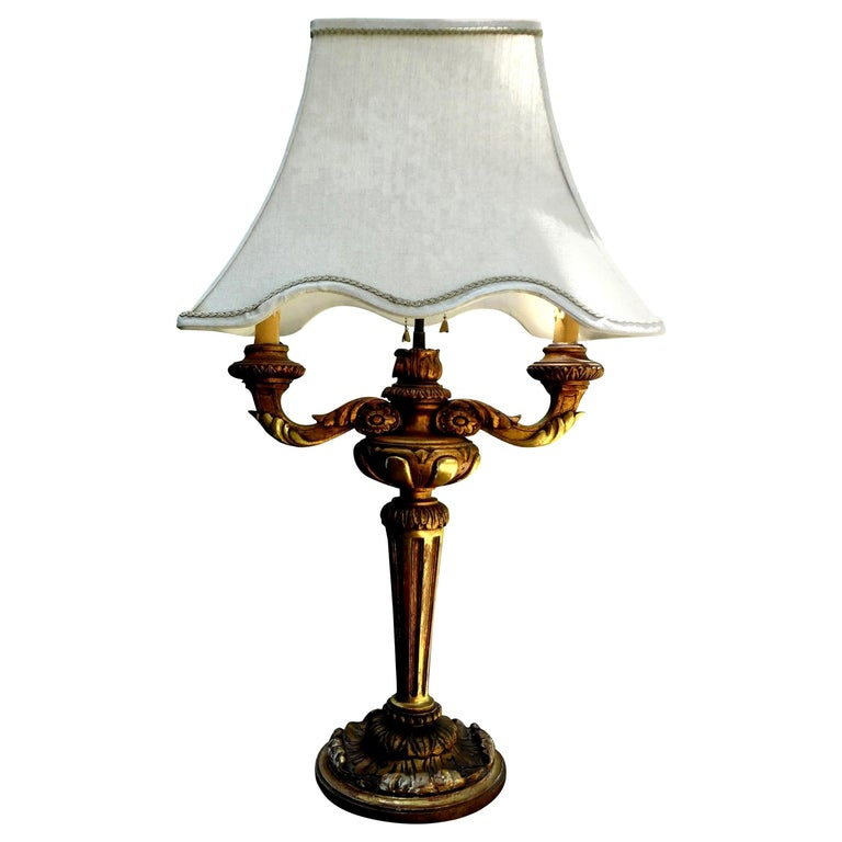 Antique Italian Giltwood Lamp For Sale