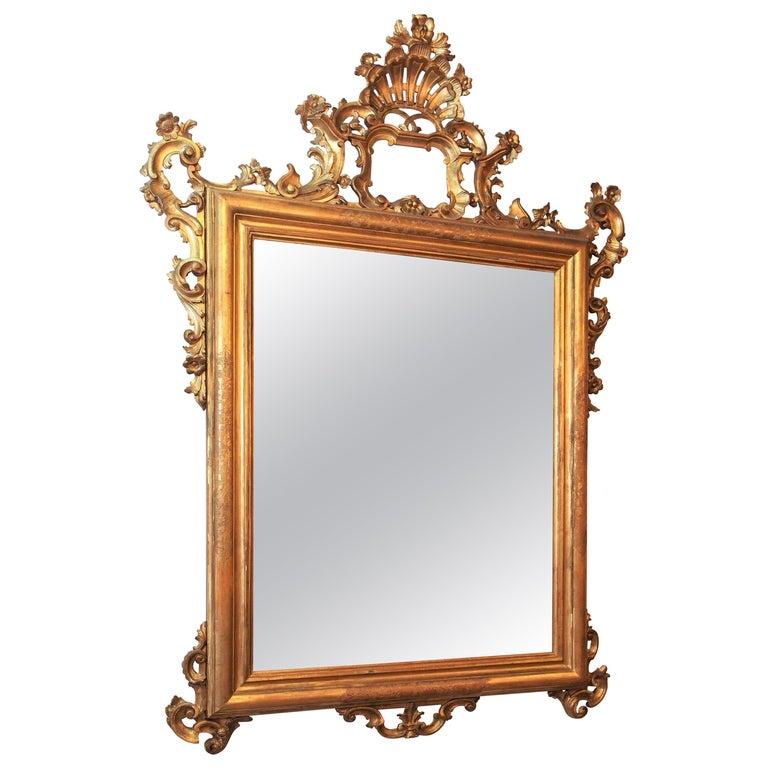 Antique Italian Giltwood Mirror For Sale