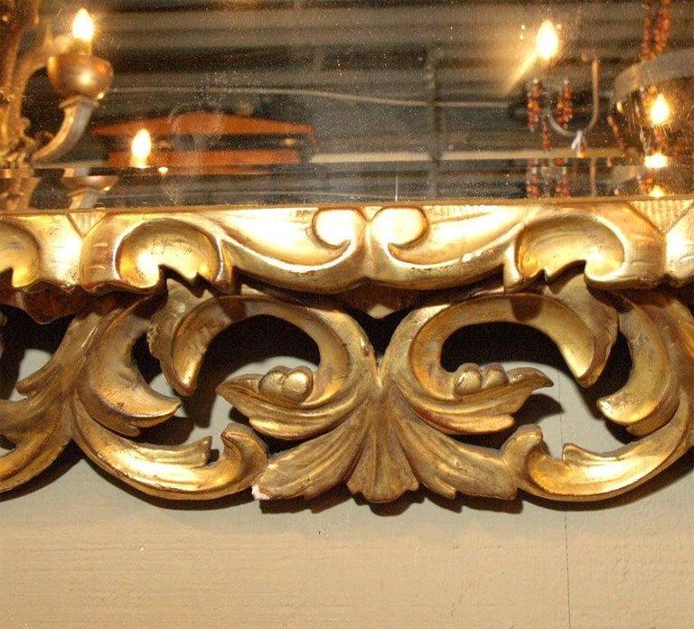19th Century Antique Italian Giltwood Rococo Mirror For Sale