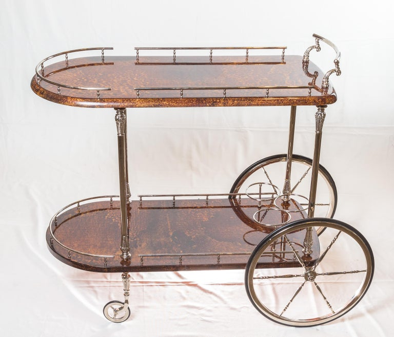 Regency Antique Italian Goat Skin Bar Cart
