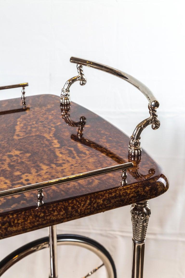 Silvered Antique Italian Goat Skin Bar Cart