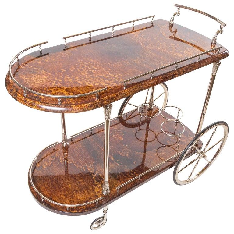 Antique Italian Goat Skin Bar Cart