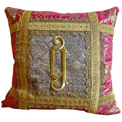 Antique Italian Gold Applique on Lace Needlework Pillow by Eleganza Italiana