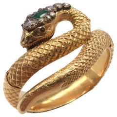 Antique Italian Gold Diamond and Emerald Bracelet, 1870s