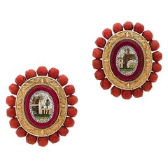 Antique Italian Gold Micromosaic Earrings