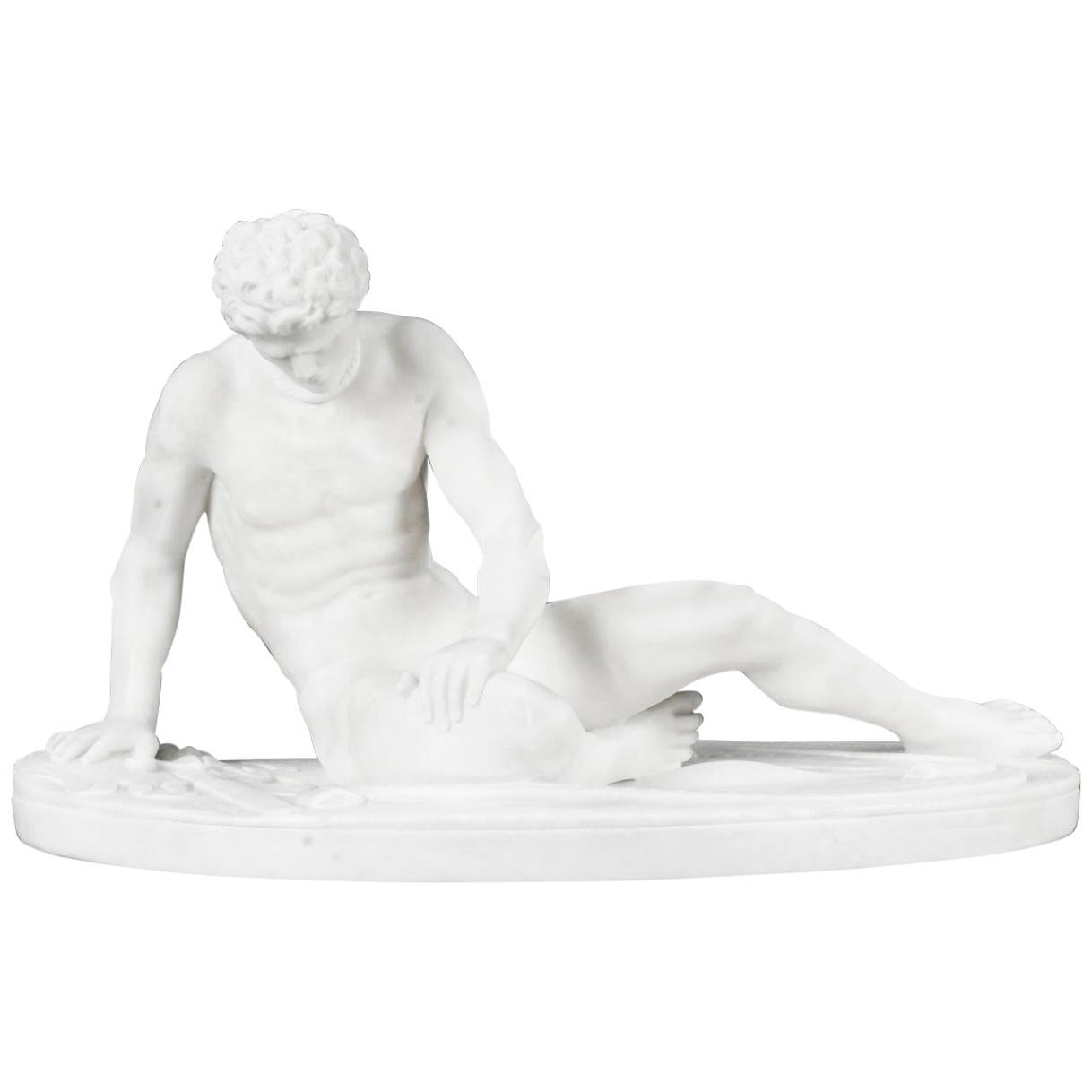 Antique Italian Grand Tour Alabaster Sculpture of the Dying Gaul, 19th Century