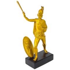 Antique Italian Grand Tour Bronze Figure of Roman Soldier, 19th Century