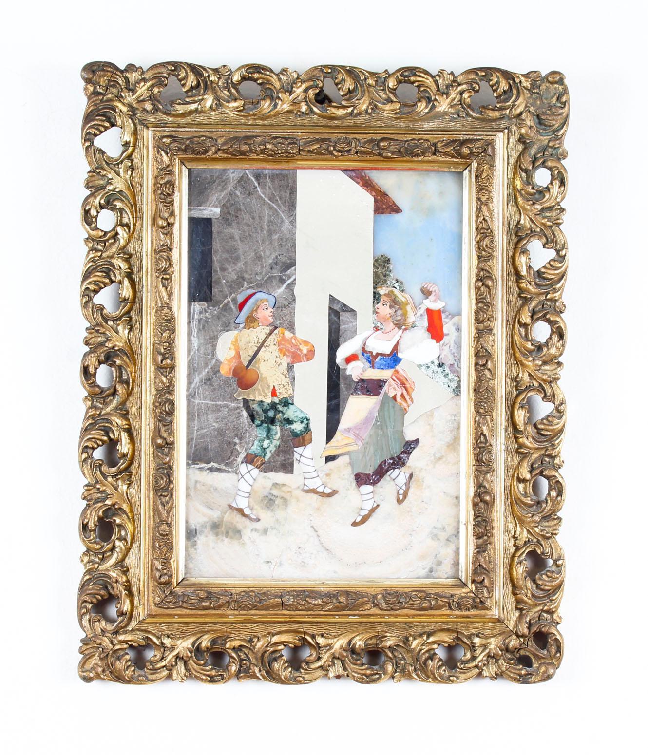 Antique Italian Grand Tour Pietra Dura Plaque Giltwood Frame, 19th Century