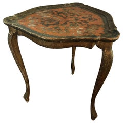Antique Italian Hand Painted Florentine Wood Side Table