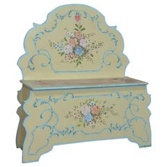 Antique Italian Hand Painted Hall Bench