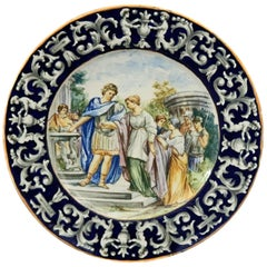 Antique Italian Hand Painted Majolica Pottery Pictorial Charger, circa 1880