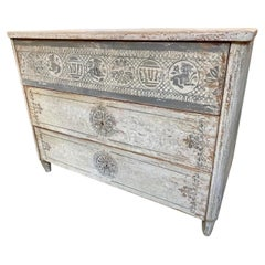 Antique Italian Hand Painted Neo Classical Style Commode